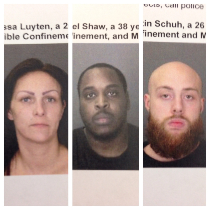 Melissa Luyten, Daniel Shaw and Dustin Schuh are seen in this wanted sign related to a murder on Mill Street in Windsor, Ont. (Courtesy Windsor police)