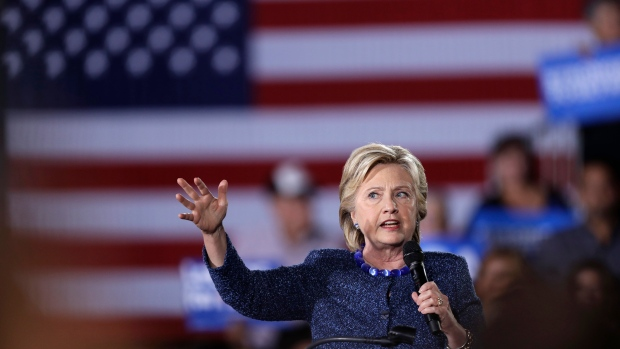 Democratic presidential candidate Hillary Clinton speaks during a rally at Theodore Roosevelt High School Friday, Oct. 28, 2016, in Des Moines, Iowa. (AP Photo / Charlie Neibergall)