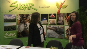 This Oct. 16, 2016 photo shows the Sugar Association's booth at an annual dietitians' conference, where food makers explained how their products fit into a healthy diet. (Candice Choi/AP)