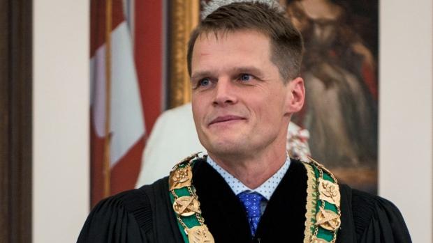 Mayor Charlie Clark smiles minutes after being sworn in as mayor at Saskatoon City Hall on Monday, Oct. 31, 2016. (Stephen Kent/CTV Saskatoon)