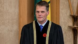 Mayor Charlie Clark looks on after being sworn in at Saskatoon City Hall on Monday, Oct. 31, 2016. (Stephen Kent/CTV Saskatoon)