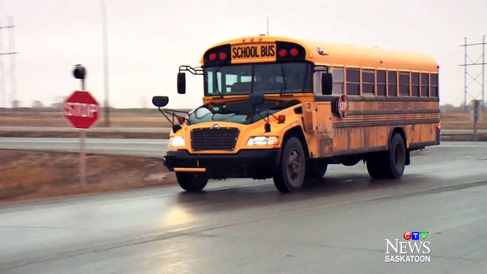 A school bus in Saskatoon