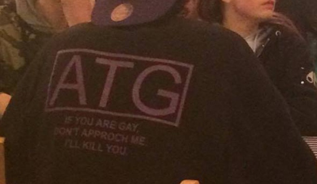 A shirt with a threatening anti-gay message is seen in public. (Whitney Martin / Facebook)