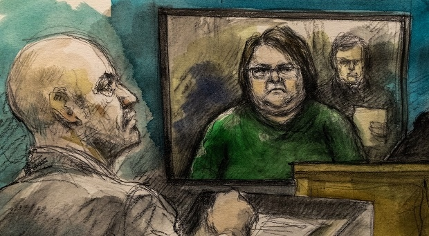 Elizabeth Wettlaufer appears in a Woodstock court via video link on Nov. 2, 2016. (Sketch by Pam Davis)