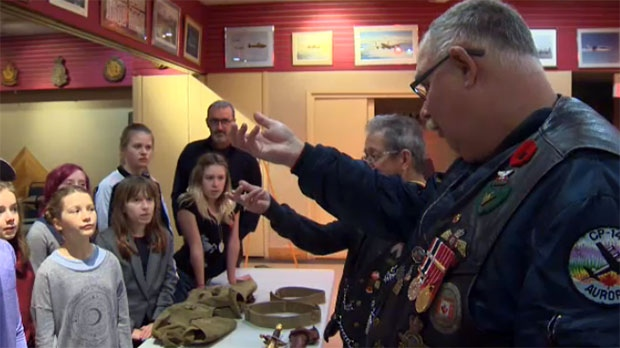The students had breakfast at the Kensington Legion and learned about Canada's military from local veterans.