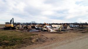 The remains of the Corner Gas set after it was demolished on Friday, Nov. 4, 2016. (KATHERINE HILL/CTV REGINA)