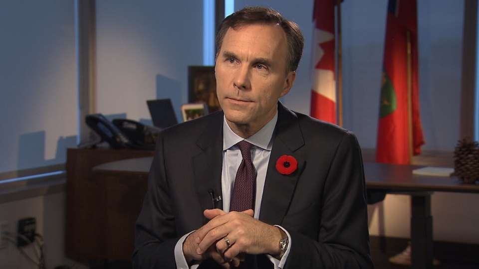 Finance Minister Bill Morneau speaks one-on-one with Evan Solomon, host of CTV's Question Period, Sunday, Nov. 6, 2016.