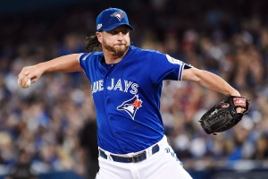 Toronto Blue Jays relief pitcher Jason Grilli (37) pitches against the Cleveland Indians during eighth inning, game four American League Championship Series baseball action in Toronto on Tuesday, October 18, 2016. (Nathan Denette / THE CANADIAN PRESS)