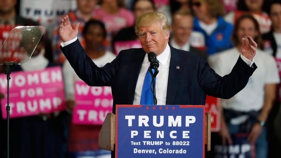 Republican presidential candidate, Donald Trump, speaks during a campaign rally late Saturday, Nov. 5, 2016, in Denver. (AP Photo/David Zalubowski)