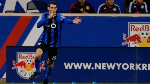 Montreal Impact midfielder Ignacio Piatti (10) reacts after scoring his first of two goals against the New York Red Bulls in the second half during an MLS Eastern Conference Semifinal soccer match at Red Bull Arena in Harrison, N.J., Sunday, Nov. 6, 2016. (Rich Schultz/AP Photo)