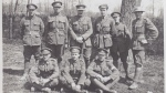 Nine men who Saved Monchy Le Preux from a German Counter Attack. Taken in May 1917 near Berneville, France. Front Row: Pte. Wilfred Curran, Cpl. John Hillier, Pte. Japheth Hounsell. Back Row: L/Cpl Albert Rose, Sgt Walter Pitcher, Major James Forbes-Robertson, Lt. Kevin Keegan, Sgt. Charlie Parsons, Sgt. Jospeh Waterfield. (Forbes-Robertson Collection)