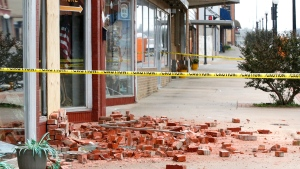 Damage in Cushing, Okla., is seen on Monday, Nov. 7, 2016, caused by Sunday night's 5.0 magnitude earthquake. (Jim Beckel The Oklahoman via AP)
