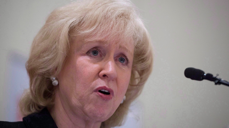 Former Canadian prime minister Kim Campbell addresses the Canadian Club in downtown Vancouver, B.C. Wednesday, April 22, 2015. The federal Liberals have decided a new advisory board, not the government, should come up potential new judges to sit on the Supreme Courts. Campbell will chair a new, seven-member, non-partisan advisory board to recommend a short-list of three candidates for the high court. THE CANADIAN PRESS/Jonathan Hayward