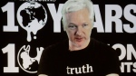 WikiLeaks founder Julian Assange participates via video link at a news conference marking the 10th anniversary of the secrecy-spilling group in Berlin, Germany on Oct. 4, 2016. (AP / Markus Schreiber)