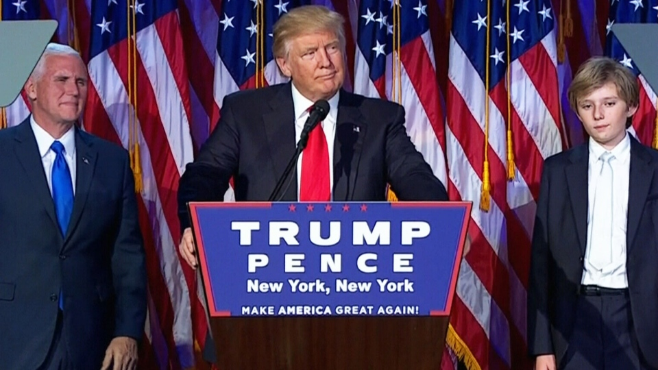 Trump delivered his victory speech to a crowd of supporters assembled in the ballroom of the Hilton hotel in New York City just before 3 a.m. on Nov. 9