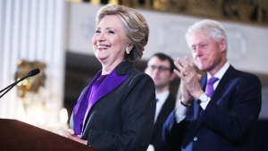 In this file photo, former U.S. President Bill Clinton applauds as his wife, Hillary Clinton, speaks in New York, Wednesday, Nov. 9, 2016. (AP Photo/Andrew Harnik)