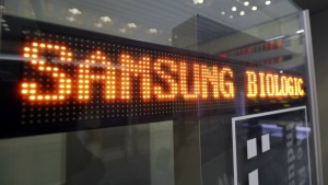 A name of Samsung Biologics Co. is displayed at the Korea Exchange in Seoul, South Korea on Thursday, Nov. 10, 2016. (AP / Lee Jin-man)