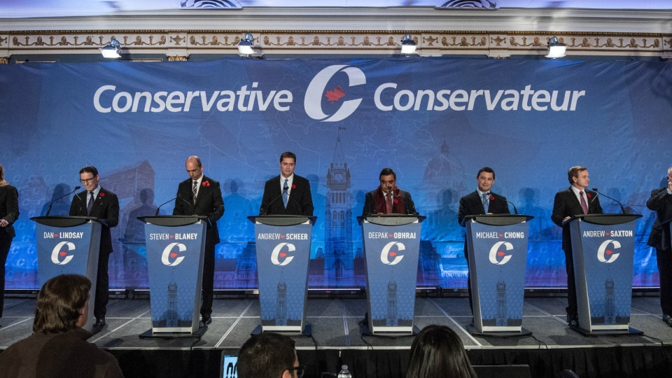 Conservative leadership candidates are introduced prior the Conservative leadership debate in Saskatoon, Wednesday, Nov. 9, 2016. (Liam Richards / THE CANADIAN PRESS)