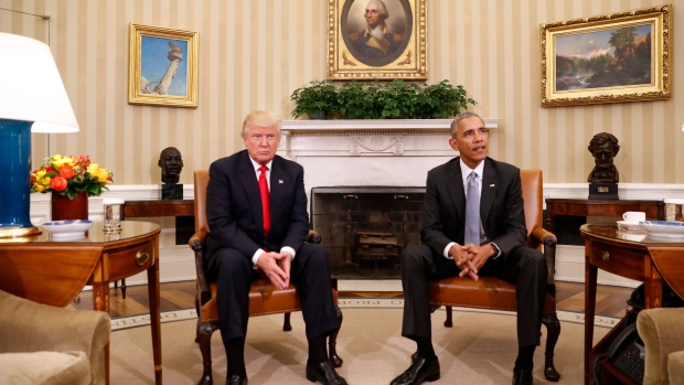 In this file 2016 photo, then-U.S. President Barack Obama meets with President-elect Donald Trump in the Oval Office of the White House in Washington, Thursday, Nov. 10, 2016. (Pablo Martinez Monsivais/AP)