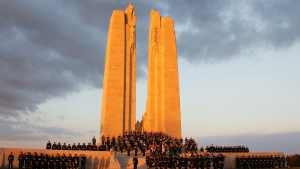 Canadian soldiers attend an official ceremony to commemorate the 90th anniversary of the Vimy battle at the Canadian National Vimy Memorial in Vimy, northern France, Saturday, April 7, 2007. (Michel Spingler / AP)