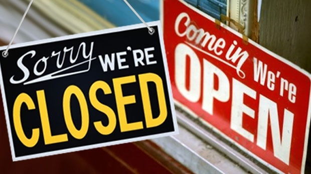 File photo of 'we're open' and closed signs.