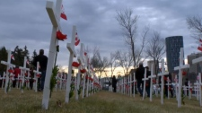 Calgarians paying their respects in the field of crosses near the Centre Street Bridge (file)