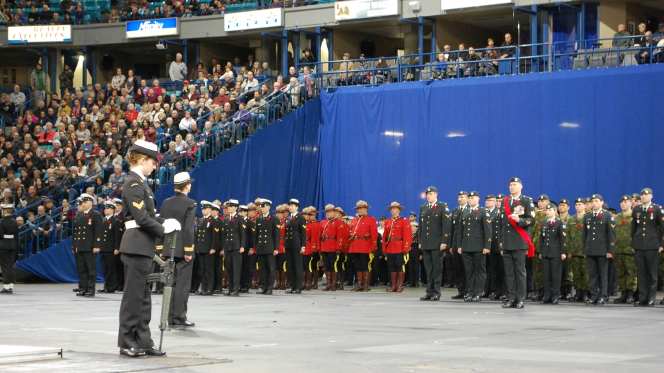 About 8,000 people attended a Remembrance Day ceremony at Saskatoon's SaskTel Centre on Friday, Nov. 11, 2016. (Allison Bamford/CTV Saskatoon)
