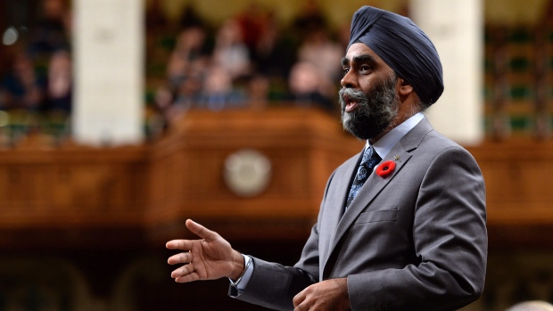 Defence Minister Harjit Sajjan speaks during question period in the House of Commons on Parliament Hill, in Ottawa on Friday, November 4, 2016. (THE CANADIAN PRESS / Adrian Wyld)