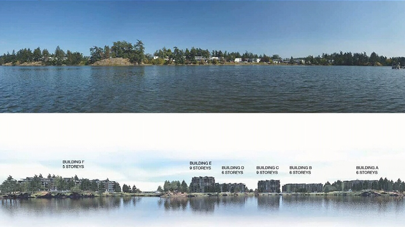 Top, Christie Point in Victoria's Portage Inlet. Bottom, a proposed redevelopment project for the area that would expand rental housing from 161 to 520 units. Nov. 11, 2016.
