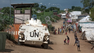 A United Nations armoured personnel carrier stands in a camp for the internally-displaced in Juba, South Sudan on July 25, 2016 . (AP/ Jason Patinkin)