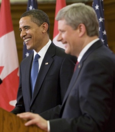 Prime Minister Stephen Harper and U.S. President Barack Obama share a laugh during a joint news conference on Parliament Hill in Ottawa, Thursday Feb.19, 2009. (Adrian Wyld / THE CANADIAN PRESS)