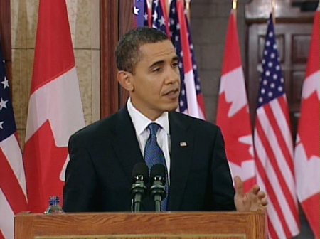 U.S. President Barack Obama responds to a media question during a joint press conference with Prime Minister Stephen Harper on Parliament Hill in Ottawa, Thursday, Feb. 19, 2009.