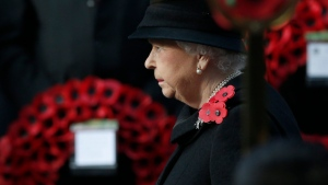 Queen Elizabeth II takes part in the Remembrance Sunday service at the Cenotaph in London, Sunday, Nov.13, 2016. (AP Photo/Alastair Grant)