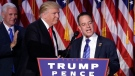 Reince Priebus, Chair of the Republican National Committee, right, speaks as President-elect Donald Trump gives his acceptance speech during his election night rally, Wednesday, Nov. 9, 2016, in New York. (AP Photo/John Locher)