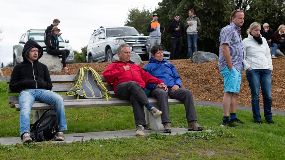 Stranded tourists gather in Kaikoura, N.Z.