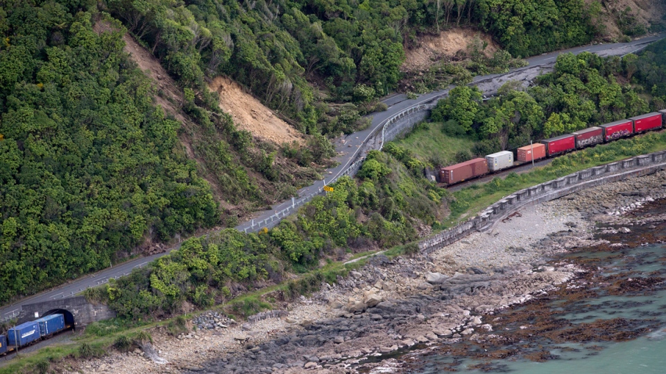 Freight train trapped by landslides near Kaikoura