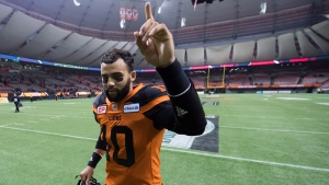 B.C. Lions' quarterback Jonathon Jennings in Vancouver, B.C., on Nov. 13, 2016. (Darryl Dyck / THE CANADIAN PRESS)