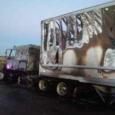 Transport truck fire