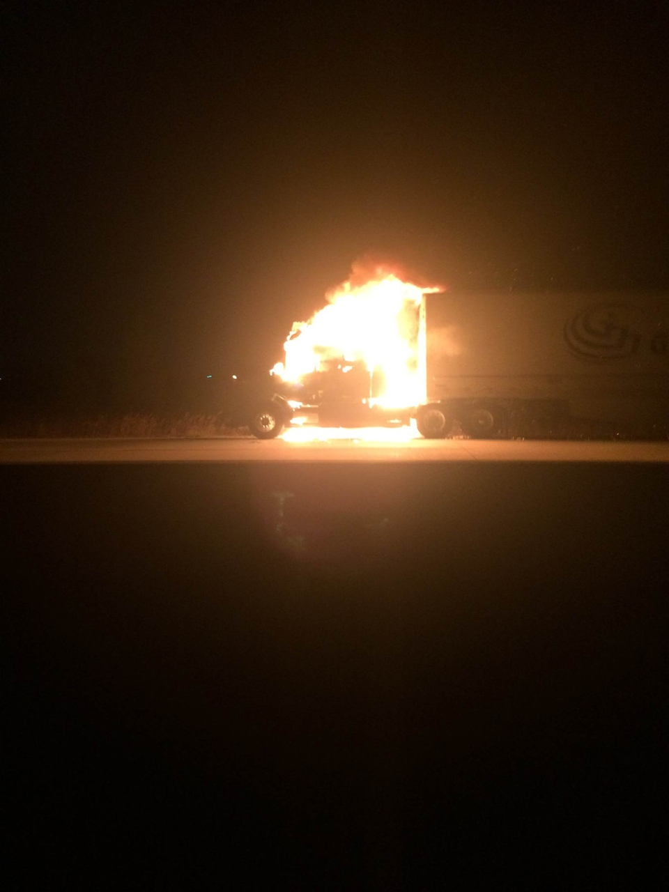 A truck fire on Highway 401 westbound around the 52 km marker at about 5 a.m. on Monday, Nov. 14, 2016. (Jason Stroud/MyNews)