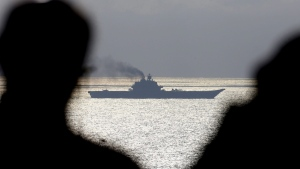 The Russian aircraft carrier Admiral Kuznetsov passes through the Straits of Dover on Oct. 21, 2016. (Gareth Fuller / PA Wire)