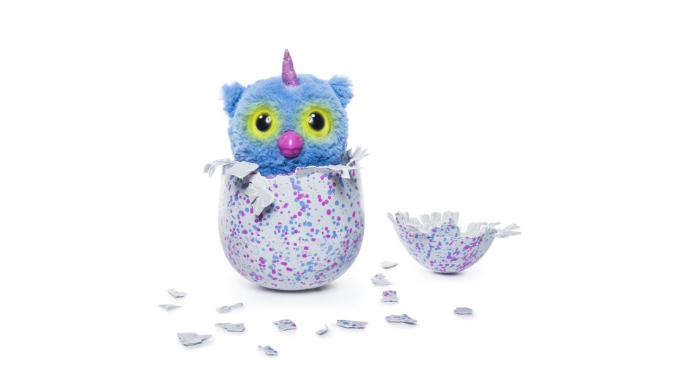 An Owlicorn Hatchimal is shown in its egg in this promotional image from Spin Master.