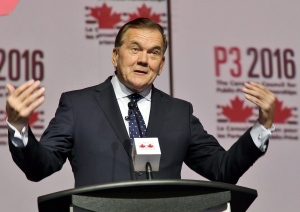 Tom Ridge, former secretary of Homeland Security in the U.S., is seen in Toronto on Tuesday, Nov. 15, 2016. Ridge says it's unlikely the election of Donald Trump as president will lead to a thicker Canada-U.S. border. (THE CANADIAN PRESS/Colin Perkel)