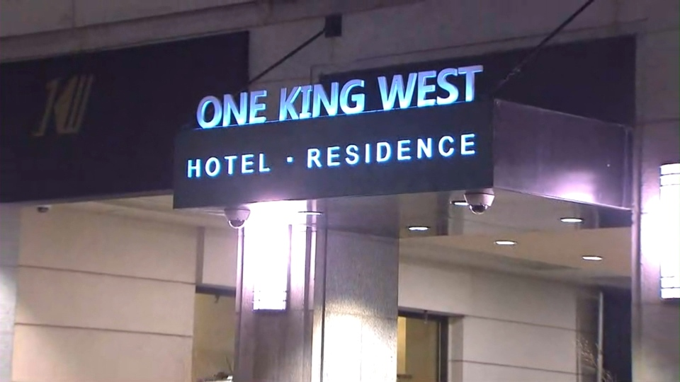 The sign at One King West, at the corner of King and Yonge streets, is seen following an accident that left one male dead on Tuesday, Nov. 15, 2016.