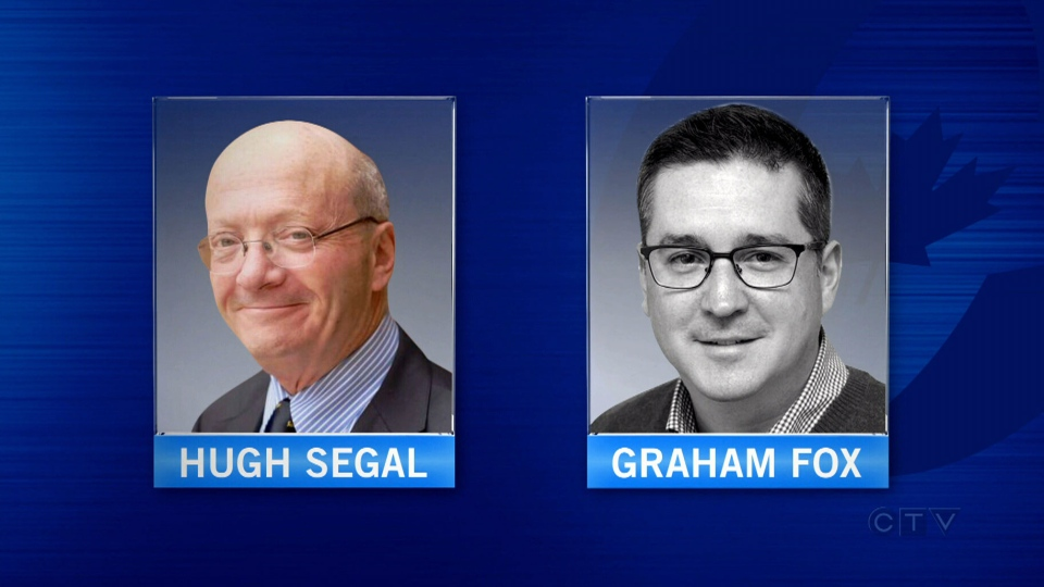 Graham Fox and Hugh Segal are picture in these undated file photos.