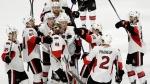 Ottawa Senators celebrate a win against the Philadelphia Flyers, on Nov. 15, 2016. (Matt Slocum / AP)