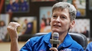 U.S. astronaut Peggy Whitson a member of the main crew to the International Space Station (ISS), speaks during a news conference in Russian leased Baikonur cosmodrome, Kazakhstan, Wednesday, Nov. 16, 2016. (Dmitri Lovetsky/AP)
