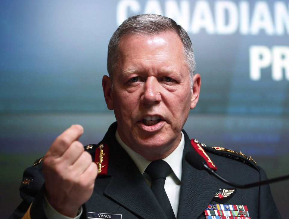 Chief of Defence staff Gen. Jonathan Vance speaks during a news conference to in Ottawa, Tuesday, August 30, 2016. (THE CANADIAN PRESS/Fred Chartrand)