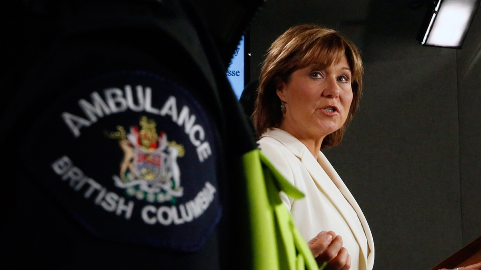 British Columbia Premier Christy Clark talks to reporters at a news conference regarding the impact of opioid overdose on Parliament Hill, in Ottawa on Thursday, Nov. 17, 2016. (Fred Chartrand / THE CANADIAN PRESS)