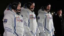 Astronauts at Baikonur cosmodrome
