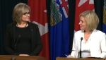 Calgary-North West MLA Sandra Jansen and Premier Rachel Notley at a news conference Thursday, November 17, 2016.